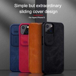 Genuine Leather iPhone 13 Pro Max Nillkin Qin Series Case - Black