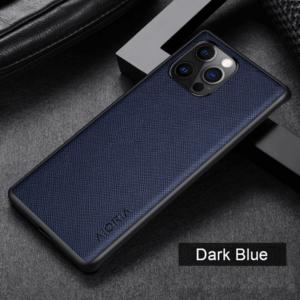 Aioria iPhone 13 Pro Max Cross Grain Leather Cover Case - Dark Blue